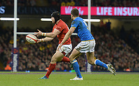 Wales Leigh Halfpenny in action during todays match<br /> <br /> Photographer Ian Cook/CameraSport<br /> <br /> 2018 NatWest Six Nations Championship - Wales v Italy - Sunday 11th March 2018 - Principality Stadium - Cardiff<br /> <br /> World Copyright &copy; 2018 CameraSport. All rights reserved. 43 Linden Ave. Countesthorpe. Leicester. England. LE8 5PG - Tel: +44 (0) 116 277 4147 - admin@camerasport.com - www.camerasport.com