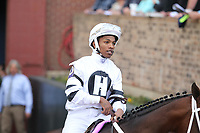 HOT SPRINGS, AR - FEBRUARY 19: Jockey Ricardo Santana Jr. before the running of the Southwest Stakes at Oaklawn Park on February 19, 2018 in Hot Springs, Arkansas. (Photo by Justin Manning/Eclipse Sportswire/Getty Images)