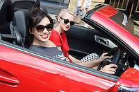 Daisy Lowe and Portia Freeman at the end of the Cash and Rocket Rally, Knightsbridge, London. 08/06/2014 Picture by: Steve Vas / Featureflash
