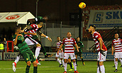 8th September 2017, SuperSeal Stadium, Hamilton, Scotland; Scottish Premier League football, Hamilton versus Celtic; Odsonne Edouard fires a header towards goal