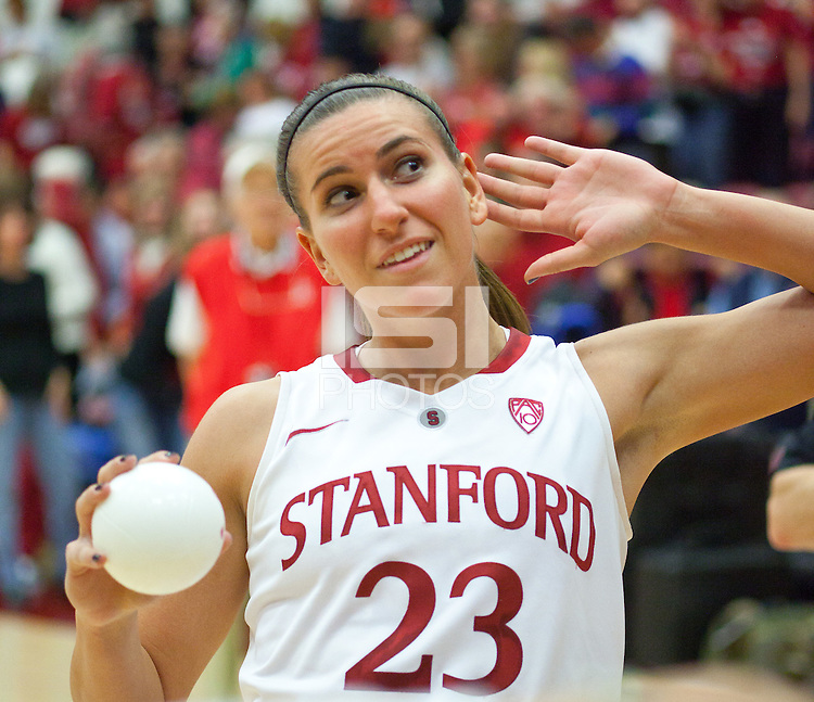 STANFORD, CA - December 28, 2010: Jeanette Pohlen of the Stanford Cardinal women's basketball team during Stanford's game against the Xavier Musketeers at Maples Pavilion. Stanford won 89-52.