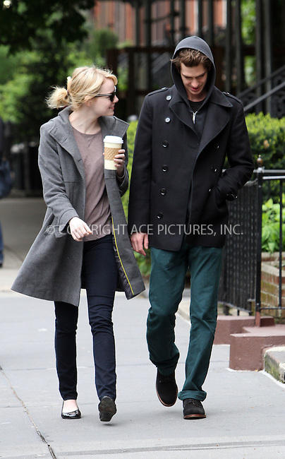 WWW.ACEPIXS.COM . . . . .  ....May 3 2012, New York City....Actors Emma Stone and Andrew Garfield take a stroll around their Chelsea neighborhood on May 3 2012 in New York City....Please byline: Zelig Shaul - ACE PICTURES.... *** ***..Ace Pictures, Inc:  ..Philip Vaughan (212) 243-8787 or (646) 769 0430..e-mail: info@acepixs.com..web: http://www.acepixs.com