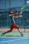 SURPRISE, AZ - MAY 12: Vivien Versier of the Barry Buccaneers returns a ball against Alvaro Regalado of the Columbus State Cougars during the Division II Men's Tennis Championship held at the Surprise Tennis & Racquet Club on May 12, 2018 in Surprise, Arizona. (Photo by Jack Dempsey/NCAA Photos via Getty Images)