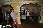 Y&R Christian LeBlanc and Days Of Our Lives Eric Martsolf dance to JAILHOUSE ROCK (appropriate see LeBlancs shirt) at SoapFest's Celebrity Weekend - Celebrity Karaoke Bar Bash - autographs, photos, live auction raising money for kids on November 10, 2012 at Bistro Soleil at Old Historic Marco  Island, Florida. (Photo by Sue Coflin/Max Photos)