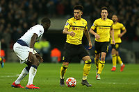 Jadon Sancho of Borussia Dortmund and Moussa Sissoko of Tottenham Hotspur during Tottenham Hotspur vs Borussia Dortmund, UEFA Champions League Football at Wembley Stadium on 13th February 2019
