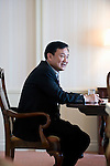 Thaksin Shinawatra, former prime minister of Thailand, speaks during an interview  in Tokyo, Japan on 23 Aug. 2011. Photographer: Robert Gilhooly