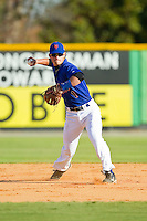 Cody Smith (1) of Lexington High School makes a throw to first base during fielding practice at the 2012 South Atlantic Border Battle on November 3, 2012 in Burlington, North Carolina.  The Mets (SC13) defeated the Red Sox (NC 13) 3-2.  (Brian Westerholt/Four Seam Images)