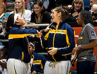 Mikayla Lyles of California shares some laughs with Avigiel Cohen of California during the game against Kansas at Haas Pavilion in Berkeley, California on December 21st, 2012.  California defeated Kansas, 88-79.