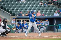 Tulsa Drillers catcher Omar Estevez (6) awaits a pitch on May 13, 2019, at Arvest Ballpark in Springdale, Arkansas. (Jason Ivester/Four Seam Images)