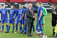 Pictured: FAW representative greets Cardiff players. Tuesday 01 May 2018<br /> Re: Swansea U19 v Cardiff U19 FAW Youth Cup Final at the Liberty Stadium, Swansea, Wales, UK