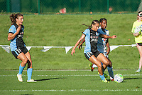 Kansas City, MO - Sunday September 11, 2016: Tiffany McCarty, Sofia Huerta, Sarah Gorden during a regular season National Women's Soccer League (NWSL) match between FC Kansas City and the Chicago Red Stars at Swope Soccer Village.
