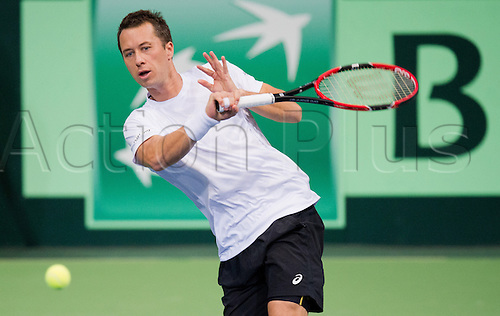 04.03.2016. Hannover, Germany.  Germany's Philipp Kohlschreiber in action during the Tennis match against Czech Republic's Rosol at the World Group 1st Round of the Davis Cup in the TUI arena in Hanover, Germany, 4 March 2016.