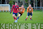Declan Doody (CSKA) in action with Jack Duggan (Bayview Rovers) on Friday evening at Mounthawk, Tralee.