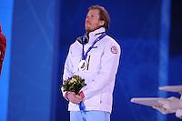 OLYMPICS: SOCHI: Medal Plaza, 09-02-2014, Alpine Skiing, Men's Downhill, bronze medalist Kjetil Jansrud (NOR), ©photo Martin de Jong