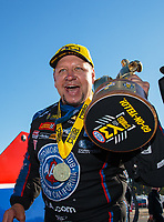 Feb 11, 2019; Pomona, CA, USA; NHRA funny car driver Robert Hight celebrates after winning the Winternationals at Auto Club Raceway at Pomona. Mandatory Credit: Mark J. Rebilas-USA TODAY Sports