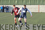 Dara O Se in action for Athletico Ardfert over 35 team against  A.C. Athletic's David Leahy at Mounthawk park, Tralee on Friday..