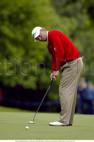 MATHIAS GRONBERG (SWE) putts on the green, Volvo PGA Championship, Wentworth Club, Surrey, 030525. Photo: Glyn Kirk/Action Plus...golf golfer.2003.greens .putting putt