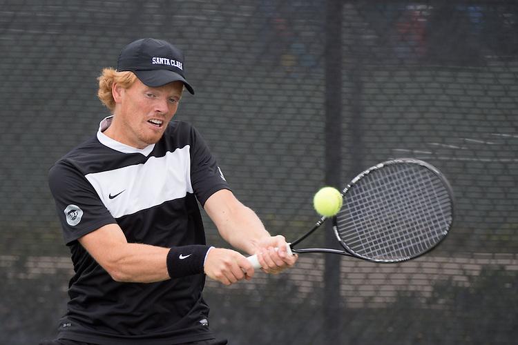 April 22, 2015; San Diego, CA, USA; Santa Clara Broncos tennis player Sam Bertram during the WCC Tennis Championships at Barnes Tennis Center.