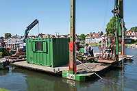 Henley on Thames. United Kingdom.   Piling Equipment moored  Thursday  17/05/2018<br /> <br /> [Mandatory Credit: Peter SPURRIER:Intersport Images]<br /> <br /> LEICA CAMERA AG  LEICA Q (Typ 116)  f5  1/1000sec  35mm  42.5MB