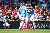 Sergio Aguero of Manchester City right celebrates scoring the first goal during AFC Bournemouth vs Manchester City, Premier League Football at the Vitality Stadium on 25th August 2019