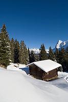 CHE, Schweiz, Kanton Bern, Berner Oberland, Muerren: Almhuette, Skipiste und Eiger (3.970 m)   CHE, Switzerland, Canton Bern, Bernese Oberland, Muerren: ski area, hut and Eiger (3.970 m) mountain with Eiger North Face