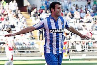 Real Sociedad's Imanol Agirretxe celebrates goal during La Liga match.April 14,2013. (ALTERPHOTOS/Acero)