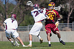 Los Angeles, CA 02/20/10 - Will Indvik (USC # 35), Alec Paul (LMU # 7) and Nolan Smith (LMU # 22) in action during the USC-Loyola Marymount University MCLA/SLC divisional game at Leavey Field (LMU).  LMU defeated USC 10-7.