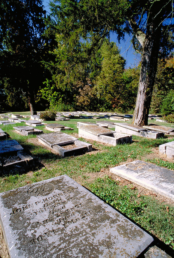 Moravian cemetery where, by custom, men and women are buried in separate sections. Located in Hope, Indiana, a Moravian village founded in 1830. Hope Indiana.