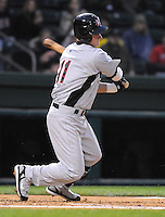 April 13, 2009: Infielder Matt West (11) of the Hickory Crawdads, Class A South Atlantic League affiliate of the Texas Rangers, in a game against the Greenville Drive at Fluor Field at the West End in Greenville, S.C. Photo by: Tom Priddy/Four Seam Images