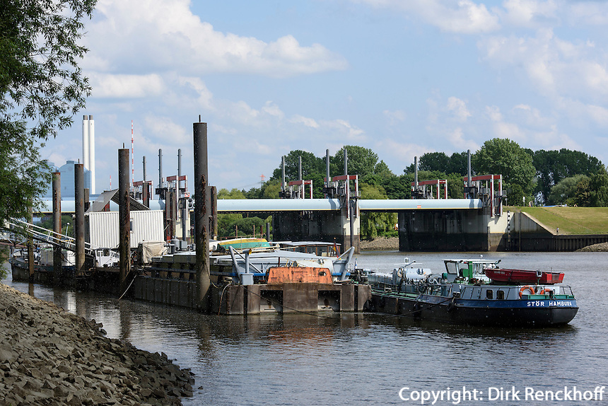 Entenwerder Zollhafen und Sperrwerk Billwerder Bucht in Rotheburgsort, Hamburg, Deutschland<br /> Customs Port Entwarder and barrage Billwerder in  Rotheburgsort, Hamburg, Germany