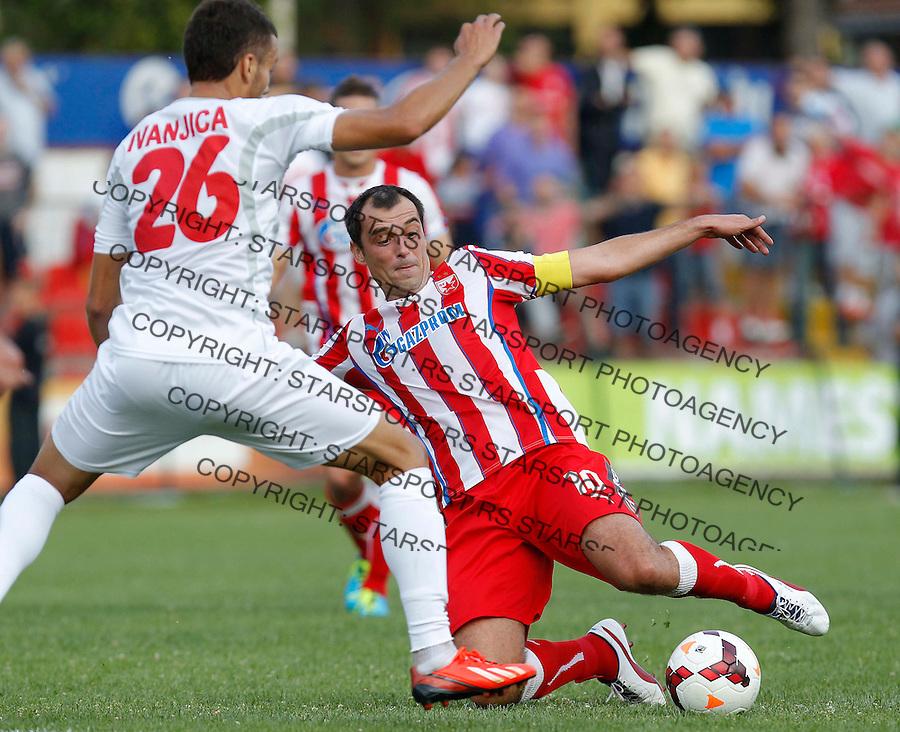 Fudbal Super liga season 2013-2014<br /> Javor v Crvena Zvezda <br /> Nenad Milijas and Nemanja Vidic<br /> Beograd, 11.08.2013.<br /> foto: Srdjan Stevanovic/Starsportphoto &copy;
