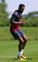 Pictured: Kyle Bartley warms up. Wednesday 05 July 2017<br /> Re: Swansea City FC training at Fairwood training ground, UK