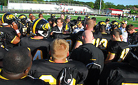 The Madison Mustangs top the Muskego Hitmen to win their conference on Saturday, 8/30/09, in Ironman Football League action at Breitenbach Stadium in Middleton, Wisconsin