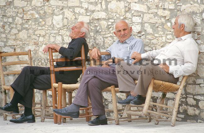 Omodos, near Troodos, old men relaxing, alte Maenner, alte Männer, Cyprus. Zypern