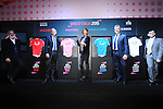 The official presentation of the four 2015 Giro d'Italia classification leaders' jerseys. The presentation took place in fantastic scenery of Fortezza da basso.<br /> Guests at the presentation were: Alberto Balocco, CEO of Balocco; Luca Lisoni, Head of Marketing and Communication at Clients Banca Mediolanum; Luca Landucci, Sales Director Out-of-Home Ice Cream and Frozen Food, Unilever; Luca Burgazzoli, Marketing Director at Eurospin. Florence, Italy. 13th January 2015<br /> Photo: www.newsfile.ie