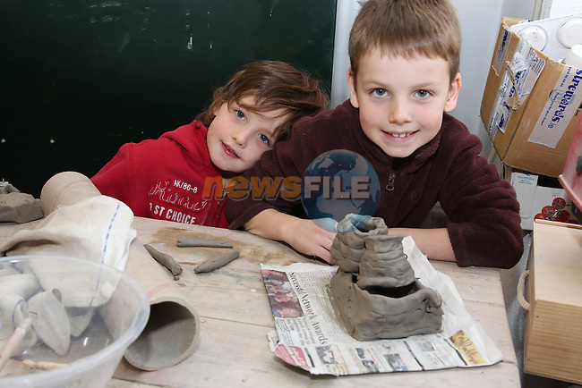 Thomas and Liam mcgreehin..at the pottery class in milllmount.Picture: Fran Caffrey/www.newsfile.ie.