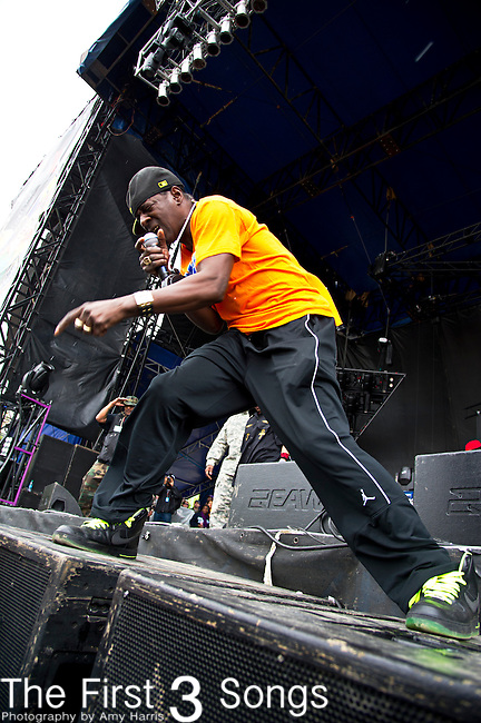 Flavor Flav (born William Drayton, Jr.) performs during the The Beale Street Music Festival in Memphis, Tennessee.