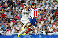 Sergio Ramos of Real Madrid and Raul Garcia of Atletico de Madrid during La Liga match between Real Madrid and Atletico de Madrid at Santiago Bernabeu stadium in Madrid, Spain. September 13, 2014. (ALTERPHOTOS/Caro Marin)