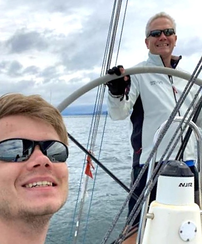 """Great to be sailing again!"" Ben Colwell and his father Richard (Commodore ICRA) on their J/109 Outrajeous, which they sailed to third place in the White Sails Division"