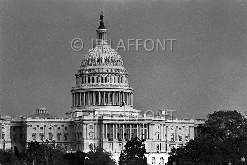 Washington, DC. November 8, 1973. US Capital Building. A break in at the Democratic National Committee headquarters at the Watergate complex on June 17, 1972 results in one of the biggest political scandals the US government has ever seen.  Effects of the scandal ultimately led to the resignation of  President Richard Nixon, on August 9, 1974, the first and only resignation of any U.S. President.