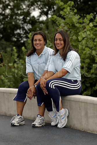8 September 2005: Portrait of British female bobsleigh crew Nicola Minichiello (left) and Jackie Davis (right) during a BOA Winter Sport Photo Call held at the Bobsleigh Push Track at the University of Bath. Photo: Neil Tingle/Actionplus..050908 winter sport wintersport bob female bobsleighing bobsledding bobsled bobsledging bobsleigh..