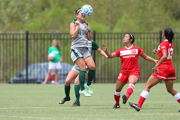 Denton, TX - AUGUST 31: Allison Guderian #13 of the North Texas Mean Green soccer in ation against University of Houston Cougars at the Mean Green Village Soccer Field on August 31, 2012 in Denton, Texas. NT won 2-1.(Photo by Rick Yeatts)