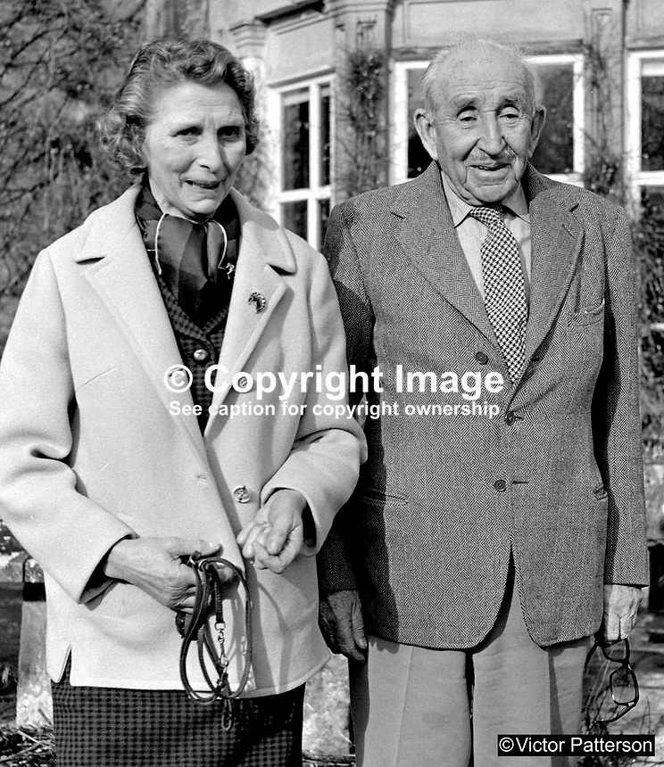 83 year old Lord Brookeborough, 1st Viscount, of Colebrooke Park, Brookeborough, Co Fermanagh, N Ireland, UK, with his bride-to-be, Mrs Irene Calvert, the widow of Cecil Calvert, who was director of neurosurgery at the Royal Victoria Hospital, Belfast. 197102000105c.<br /> <br /> Copyright Image from Victor Patterson,<br /> 54 Dorchester Park, Belfast, UK, BT9 6RJ<br /> <br /> t1: +44 28 90661296<br /> t2: +44 28 90022446<br /> m: +44 7802 353836<br /> <br /> e1: victorpatterson@me.com<br /> e2: victorpatterson@gmail.com<br /> <br /> For my Terms and Conditions of Use go to<br /> www.victorpatterson.com