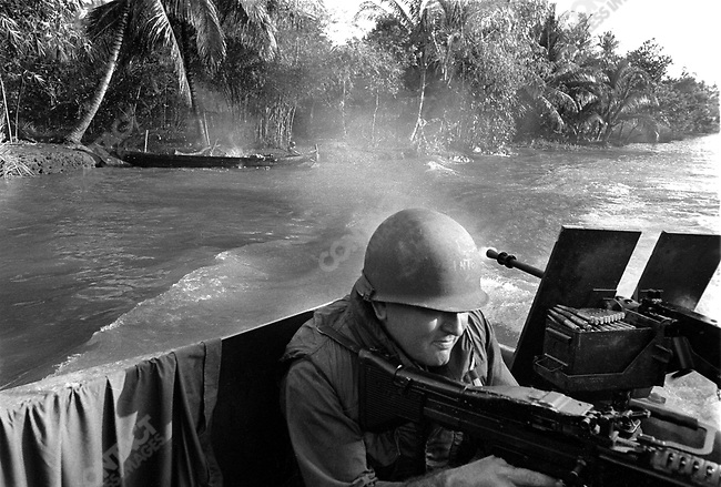 US forces on a boat patrol, in the Mekong Delta, South Vietnam, December 1967