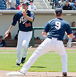Reno Aces pitcher Tyler Skaggs flips the ball to first baseman Mike Jacobs during their game against the Las Vegas 51s played on Sunday afternoon, July 1, 2012 in Reno, Nevada.