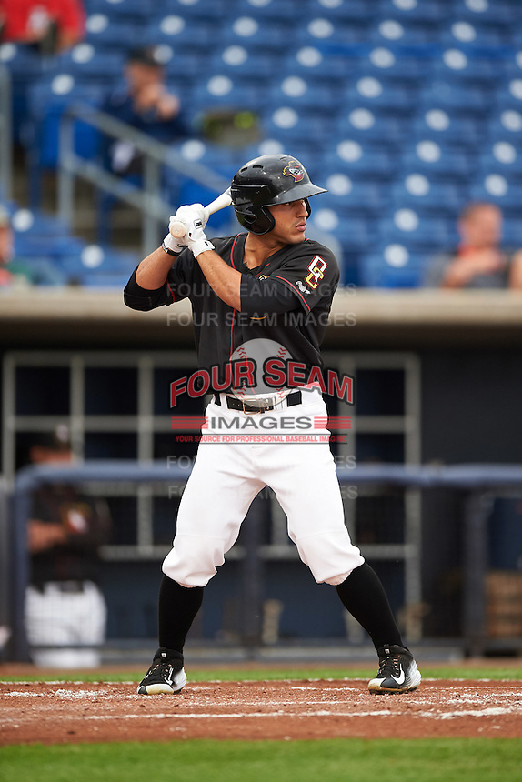 Quad Cities River Bandits outfielder Ramon Laureano (10) at bat during the first game of a doubleheader against the Wisconsin Timber Rattlers on August 19, 2015 at Modern Woodmen Park in Davenport, Iowa.  Quad Cities defeated Wisconsin 3-2.  (Mike Janes/Four Seam Images)