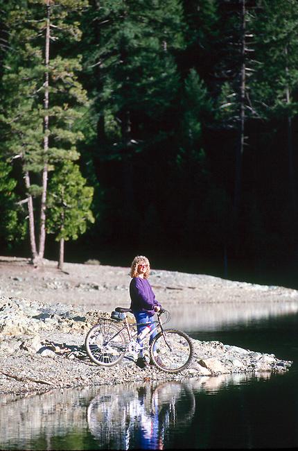 Mt. Biker looking over Sugarpine Reservoir