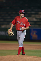 AZL Angels relief pitcher Christian Aragon (43) during an Arizona League game against the AZL Athletics at Tempe Diablo Stadium on June 26, 2018 in Tempe, Arizona. The AZL Athletics defeated the AZL Angels 7-1. (Zachary Lucy/Four Seam Images)