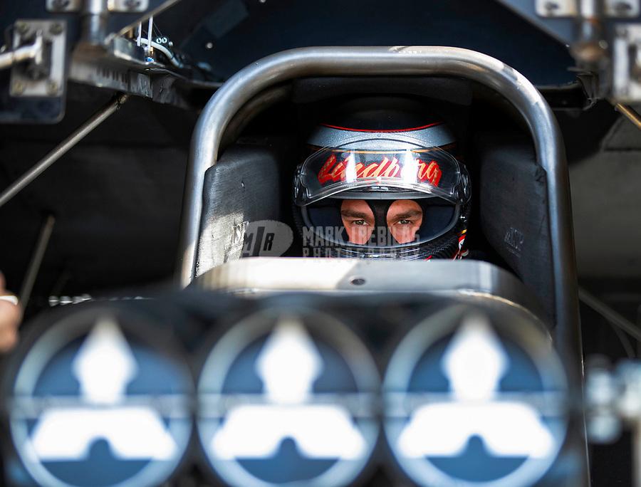 May 4, 2018; Commerce, GA, USA; NHRA funny car driver Jonnie Lindberg during qualifying for the Southern Nationals at Atlanta Dragway. Mandatory Credit: Mark J. Rebilas-USA TODAY Sports