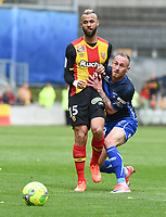 20170415 - LENS , FRANCE : Lens' John Bostock (L) and Auxerre's Gaetan Courtet (R) pictured during the soccer match between Racing Club de LENS and AJ Auxerre , on the thirty third matchday in the French Dominos pizza Ligue 2 at the Stade Bollaert Delelis stadium , Lens . Saturday 15 April 2017 . PHOTO DIRK VUYLSTEKE | SPORTPIX.BE